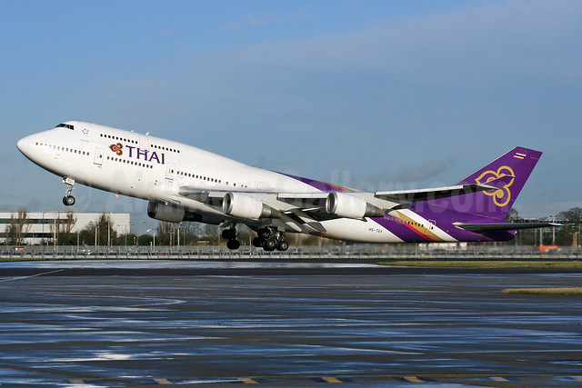 Thai Airways International Boeing 747-4D7 HS-TGY (msn 28705) LHR (SPA). Image: 935681,