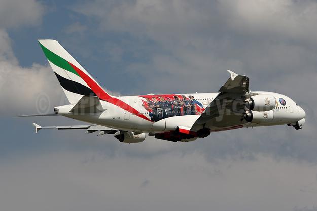 Emirates Airline Airbus A380-861 A6-EUB (msn 213) (Expo 2020 Dubai UAE) (Paris Saint-Germain) ZRH (Andi Hiltl). Image: 944670.