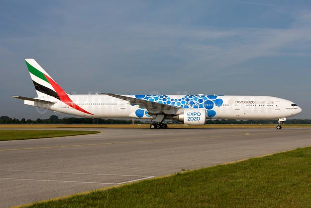 Emirates Airline Boeing 777-31H ER A6-EGB (msn 38985) (Expo 2020 Dubai UAE) MUC (Gunter Mayer). Image: 955096.
