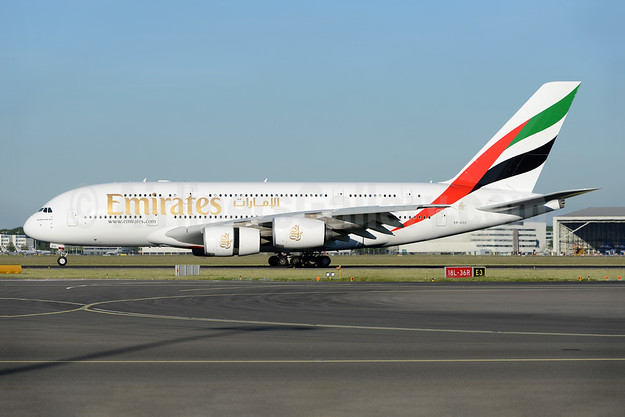 Emirates Airline Airbus A380-861 A6-EDG (msn 023) AMS (Ton Jochems). Image: 945264.