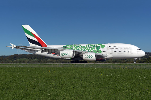 "The green version of the ""Expo 2020 Dubai UAE"" promotional livery"