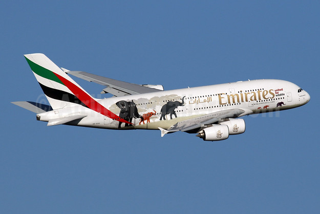 "Emirates' 2nd ""United for Wildlife"" A380 logo jet"