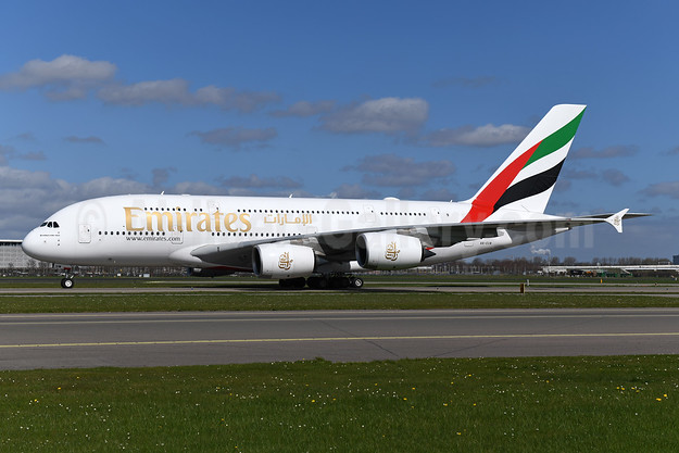 Emirates Airline Airbus A380-842 A6-EUW (msn 240) AMS (Ton Jochems). Image: 946247.