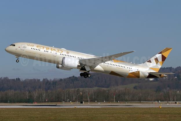 Etihad's first Boeing 787-9, delivered December 31, 2014