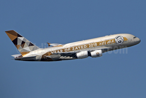 "Etihad's ""Year of Zayed 2018"" A380 logo jet"