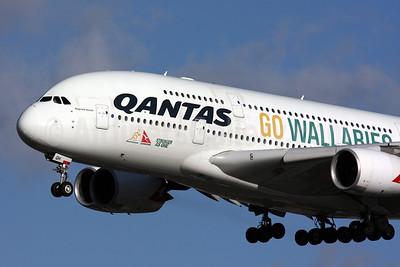 QANTAS Airways Airbus A380-842 VH-OQH (msn 050) (Go Wallabies - Stronger as One) LHR (SPA). Image: 931397.
