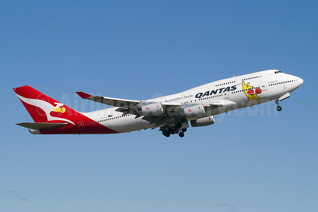 QANTAS Airways Boeing 747-438 VH-OJU (msn 25566) (Spirit of the Australian Team) SYD (Micheil Keegan). Image: 909367.