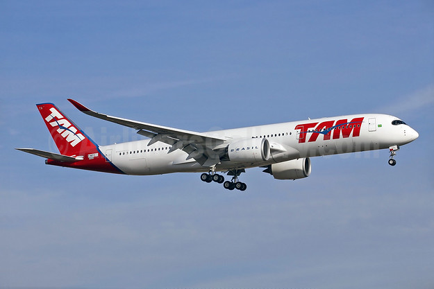 Acceptance flight of TAM's first Airbus A350