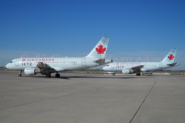 Air Canada Jetz (Air Canada) Airbus A319-114 C-GBIK (msn 831) and C-GBHN (msn 773) YYZ (TMK Photography). Image: 933592.