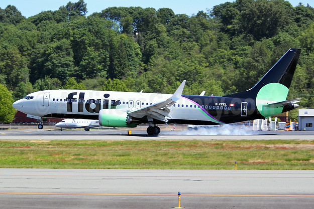 Flair Airlines Boeing 737-8 MAX 8 C-FFEL (msn 64942) BFI (Joe G. Walker). Image: 953920.