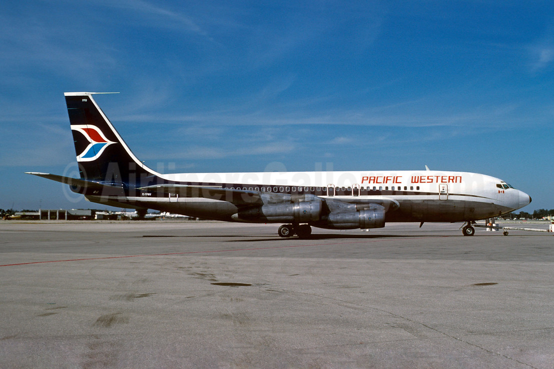 Pacific Western Airlines Boeing 707-138B C-FPWV (msn 17696) MIA (Bruce Drum). Image: 102256.