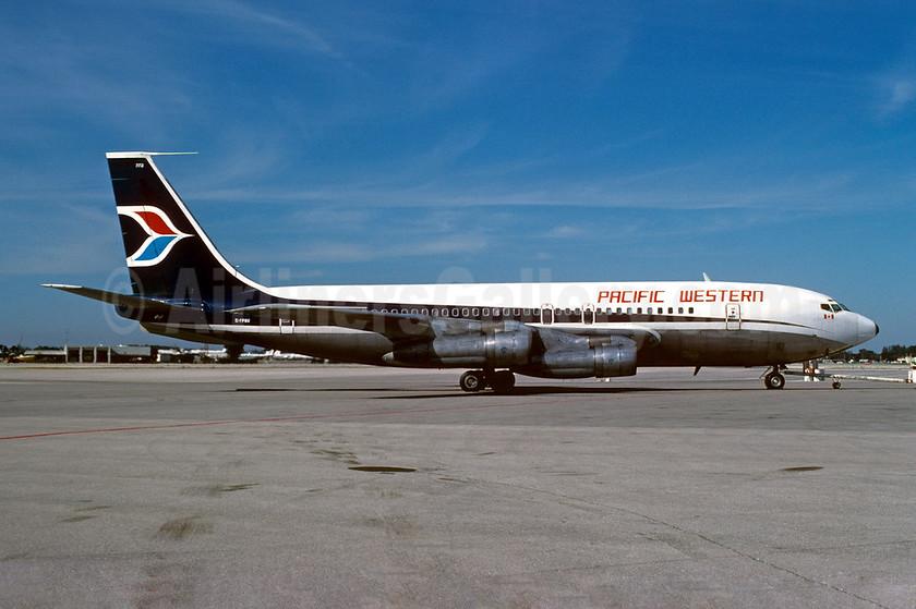 Pacific Western Airlines Boeing 707-138B C-FPWV (msn 17696) MIA (Bruce Drum). Image: 102256.