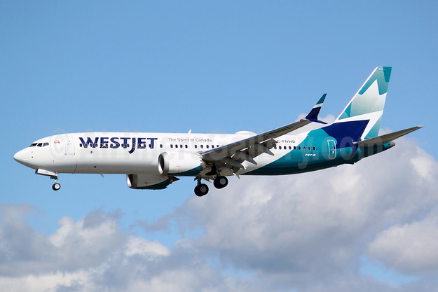 WestJet's 2018 livery, first MAX 8 is painted