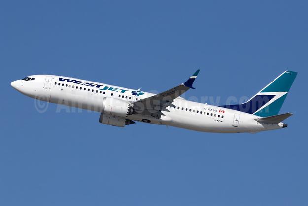WestJet Airlines Boeing 737-8 MAX 8 C-GXAX (msn 60512) LAX (Michael B. Ing). Image: 944507.