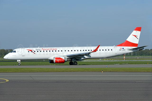 Austrian.com - my Austrian (Austrian Airlines) Embraer ERJ 190-200LR (ERJ 195) OE-LWD (msn 19000411) AMS (Ton Jochems). Image: 937740.