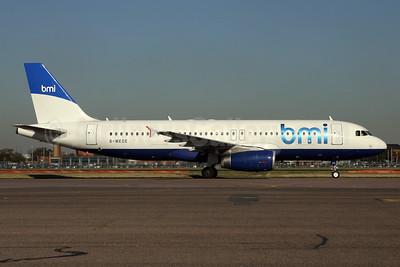 bmi (British Midland International) Airbus A320-232 G-MEDE (msn 1194) (British Airways - BMED hybrid livery) LHR. Image: 929319.