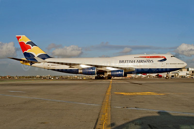 British Airways Boeing 747-436 G-CIVU (msn 25810) (Waves) LAX (Roy Lock). Image: 913949.