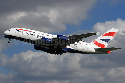 British Airways Airbus A380-841 G-XLEA (msn 095) LHR (SPA). Image: 932409.