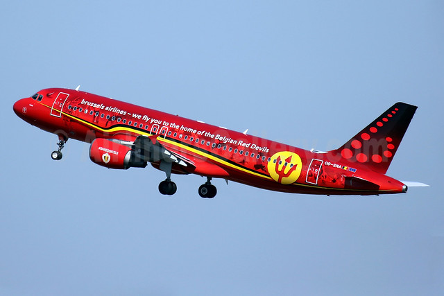 "Brussels Airlines' 2016 Belgian Red Devils logo jet - named ""Trident"""