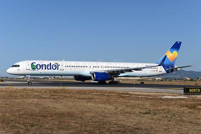 Condor Flugdienst-Thomas Cook Boeing 757-330 WL D-ABOM (msn 29022)  (Janosch - Kastenfrosch and Tigerente) (Sunny Heart) PMI (Ton Jochems). Image: 923482.