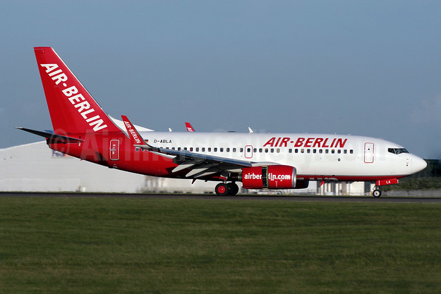Air-Berlin (airberlin.com) Boeing 737-76J WL D-ABLA (msn 36114) STN (Antony J. Best). Image: 901995.