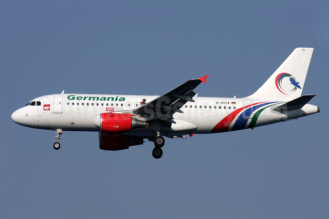 Germania Fluggesellschaft Airbus A319-112 D-ASTA (msn 4663) (Gambia Bird colors) CFU (Antony J. Best). Image: 913266.