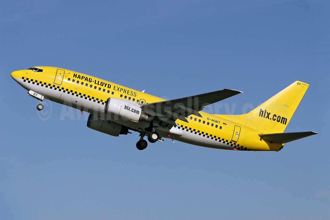 Hapag-Lloyd Express - hlx.com Boeing 737-75B D-AGET (msn 28109) SEN (Keith Burton). Image: 900362.