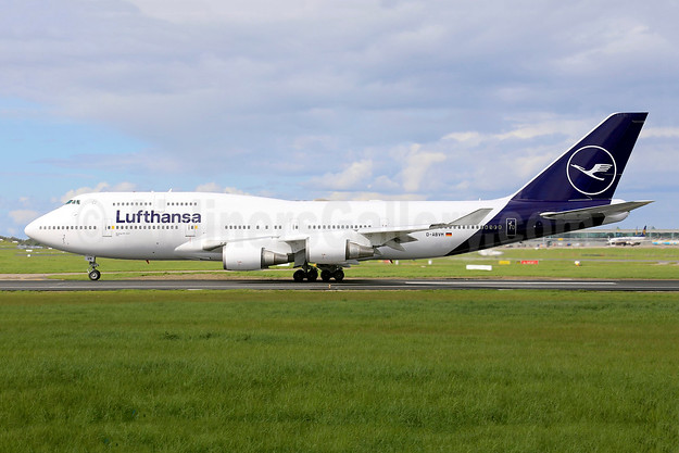 "Lufthansa's first 747-400 in the new revised  livery - ""optimised blue"""