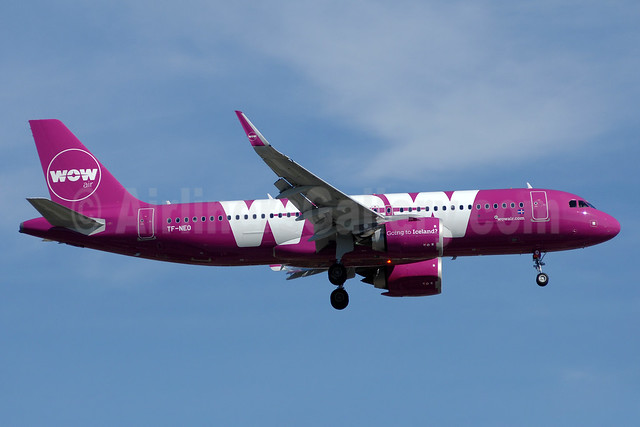 Wow Air's first Airbus A320neo, delivered on April 21, 2017