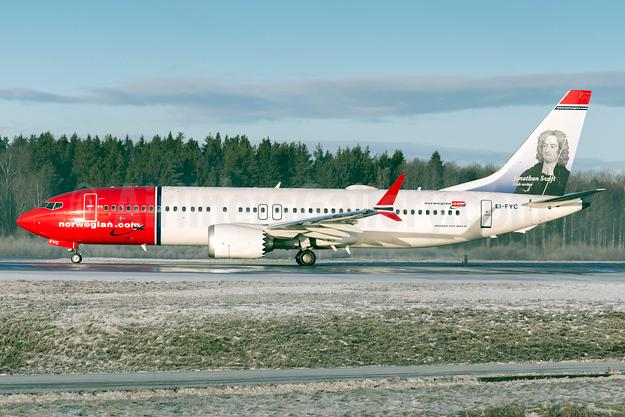 Norwegian.com (Norwegian Air International) (Ireland) Boeing 737-8 MAX 8 EI-FYC (msn 42825) (Jonathan Swift, Irish writer) ARN (Stefan Sjogren). Image: 940376.