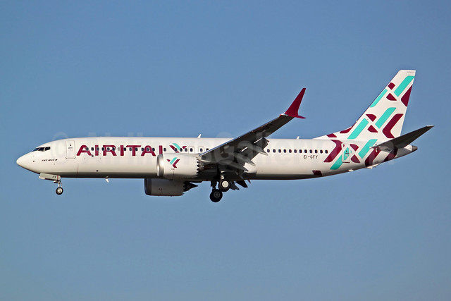 Air Italy (3rd) Boeing 737-8 MAX 8 EI-GFY (msn 64605) BFI (Joe G. Walker). Image: 941730.