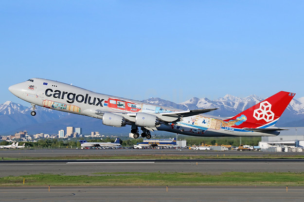 "Cargolux's ""You name it, we fly it"" logo jet"