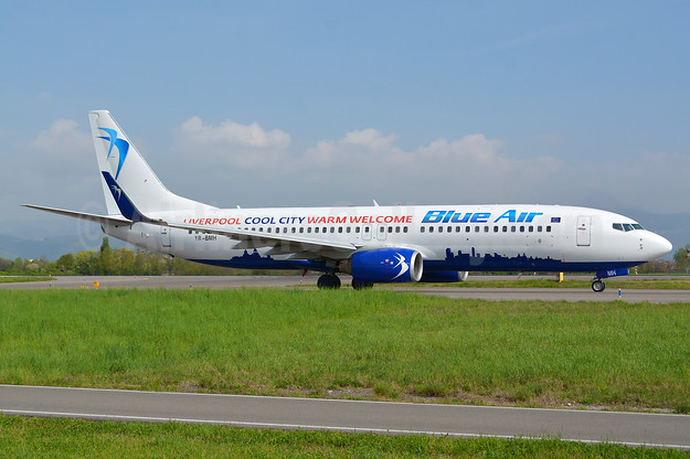 "Blue Air's 2017 ""Liverpool Cool City Warm Welcome"" logo jet"