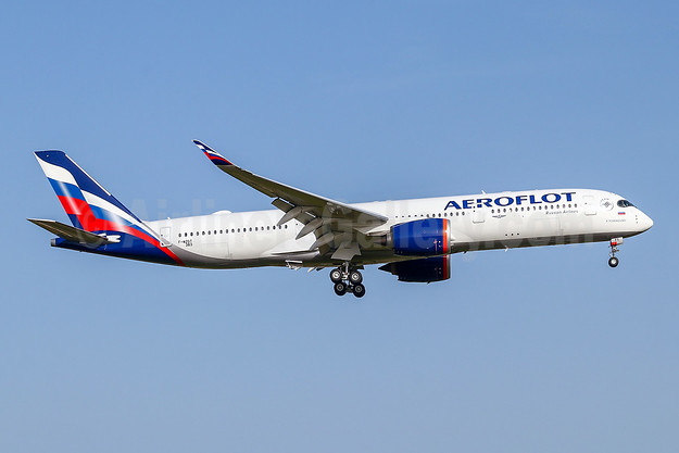 Aeroflot's first Airbus A350-900, first in the new livery