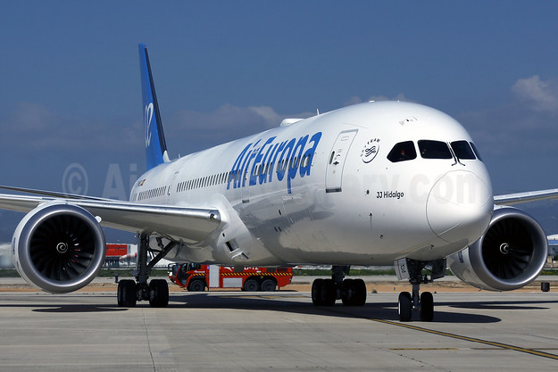 "Air Europa' first Boeing 787-9 Dreamliner, named ""J.J. Hidalgo"""