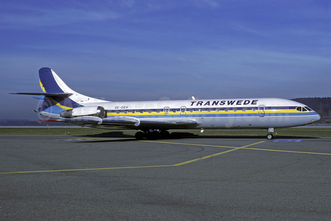 Transwede Airways (1st) Sud Aviation SE.210 Caravelle 10B3 SE-DEH (msn 188) ZRH (Rolf Wallner). Image: 913311.
