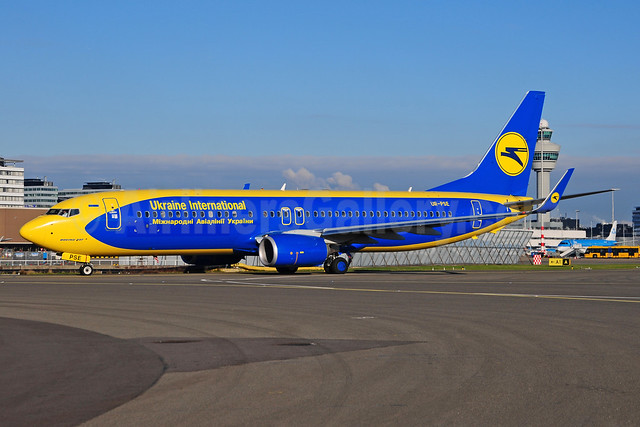 Ukraine International Airlines Boeing 737-84R WL UR-PSE (msn 38119) (AeroSvit Airlines colors) AMS (Ton Jochems). Image: 910653.