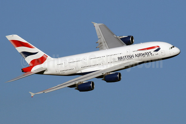 British Airways Airbus A380-841 G-XLEB (msn 121) LHR (SPA). Image: 940465.