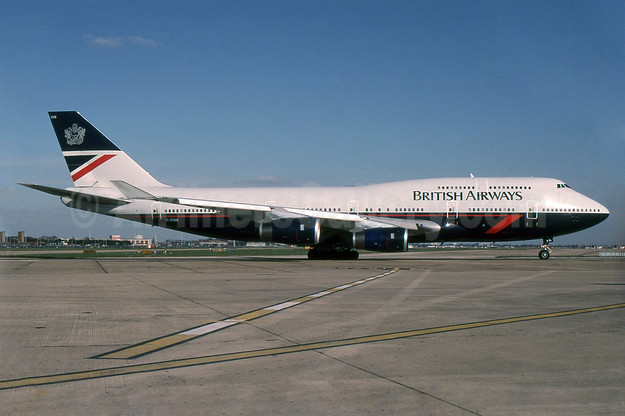 British Airways Boeing 747-436 G-CIVK (msn 25818) LHR (SPA). Image: 940522.