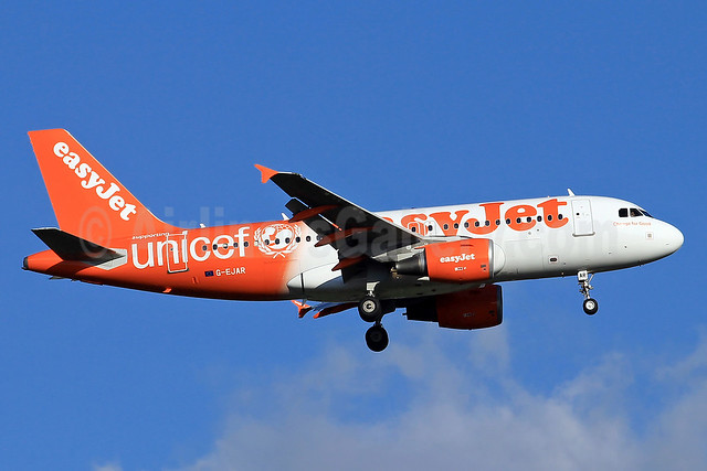 easyJet (UK) Airbus A319-111 G-EJAR (msn 2412) (Supporting UNICEF) TLS (Eurospot). Image: 910423.