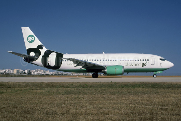 Go Fly Boeing 737-3L9 G-IGOS (msn 27336) (Click and go) (Bruce Drum Collection). Image: 954822.
