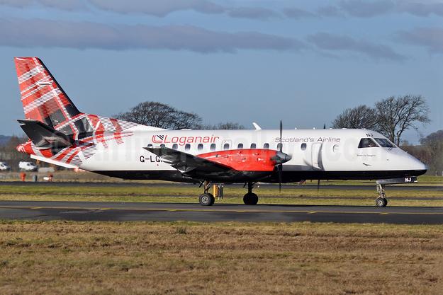 Loganair SAAB 340B G-LGNJ (msn 173) GLA (Robbie Shaw). Image: 940889.