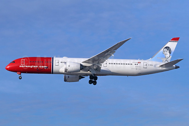 Norwegian.com (Norwegian Air UK) Boeing 787-9 Dreamliner G-CKHL (msn 63310) (Amy Johnson, British Aviator) LAX (Michael B. Ing). Image: 940391.