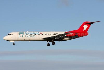Greenland Express (Denim Air) Fokker F.28 Mk. 0100 PH-MJP (msn 11505) DUB (Michael B. Ing). Image: 929165.
