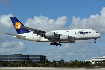 Lufthansa Airbus A380-841 D-AIMM (msn 175) MIA (Jay Selman). Image: 402714.