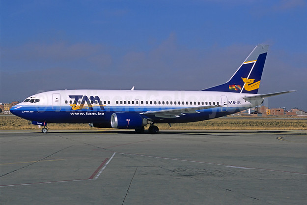 TAM (Bolivia) Boeing 737-322 FAB-115 (msn 24653) (partial United Airlines colors) LPB (Christian Volpati Collection). Image: 932093.
