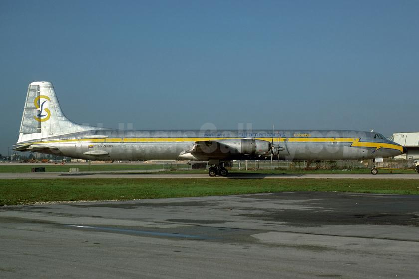 Lineas Aereas Suramericanas Canadair CL-44J HK-3148X (msn 39) MIA (Bruce Drum). Image: 104575.