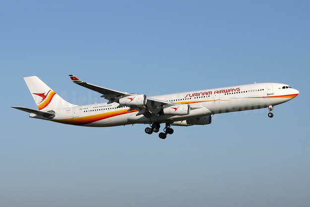 Surinam Airways Airbus A340-311 PZ-TCP (msn 049) AMS (Wim Callaert). Image: 904443.