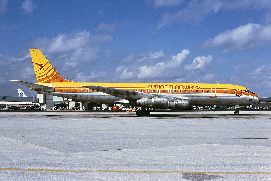Surinam Airways (KLM Royal Dutch Airlines) McDonnell Douglas DC-8F-55 PH-DCW (msn 45762) MIA (Bruce Drum). Image: 102419.