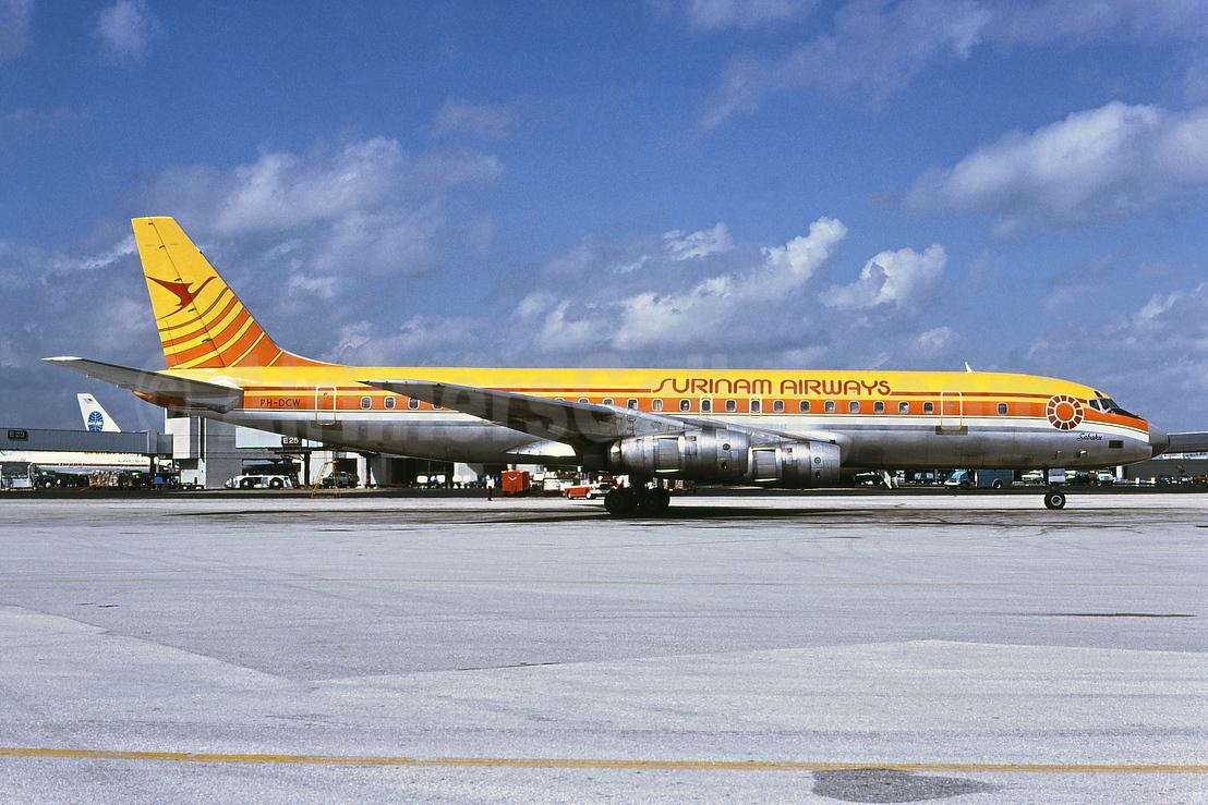 Surinam Airways (KLM Royal Dutch Airlines) McDonnell Douglas DC-8F-55 PH-DCW (msn 45762) MIA (Bruce Drum). Image: 102419.